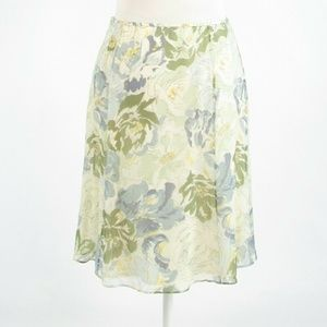Ivory blue TALBOTS sheer overlay A-line skirt 6P